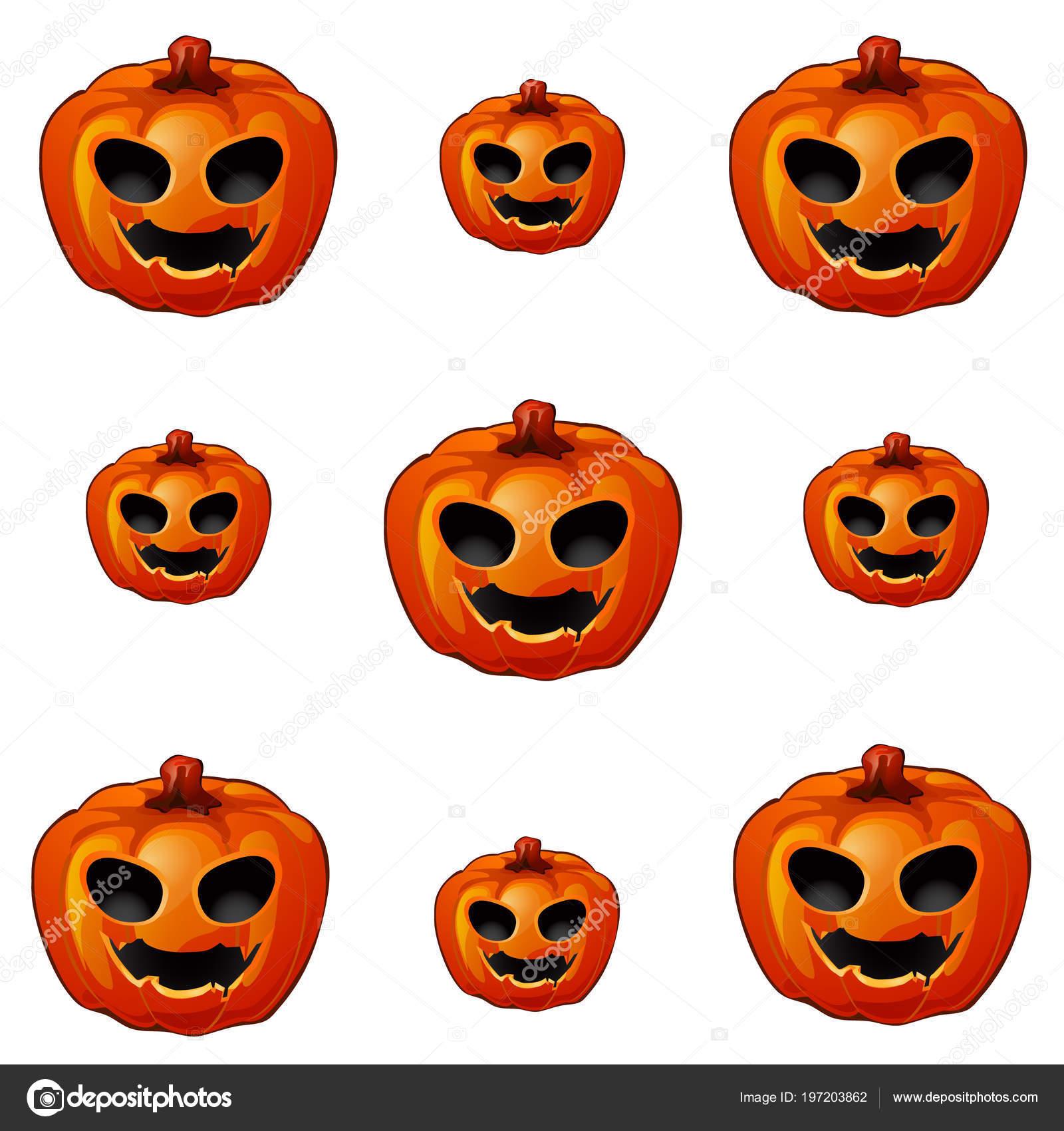 Conjunto de calabaza madura con ojos y boca, Jack-o-Lanterns ...