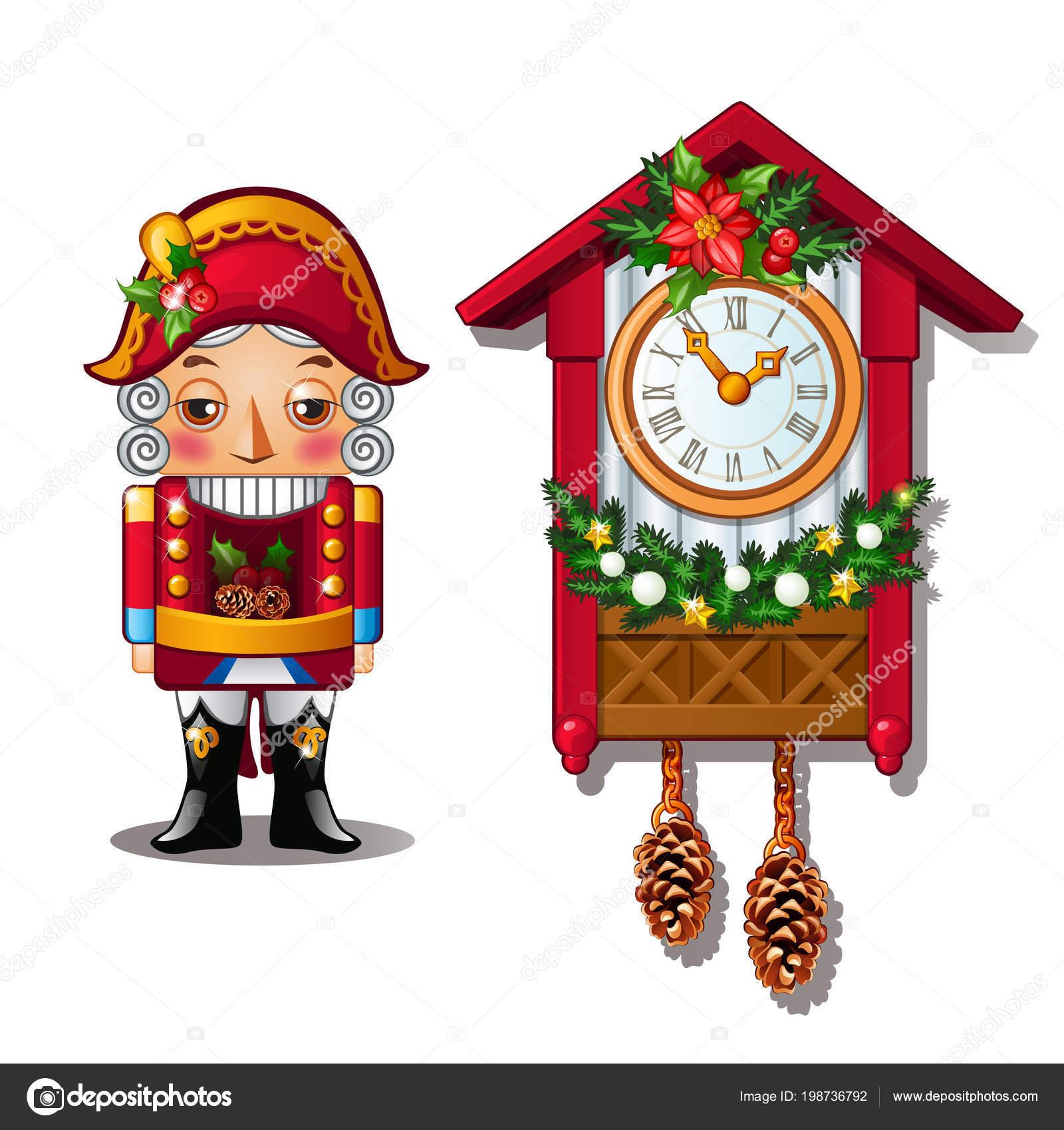 63a13aaa5cd O quebra-nozes e o antigo relógio cuco isolado em um fundo branco — Vetor  de ...