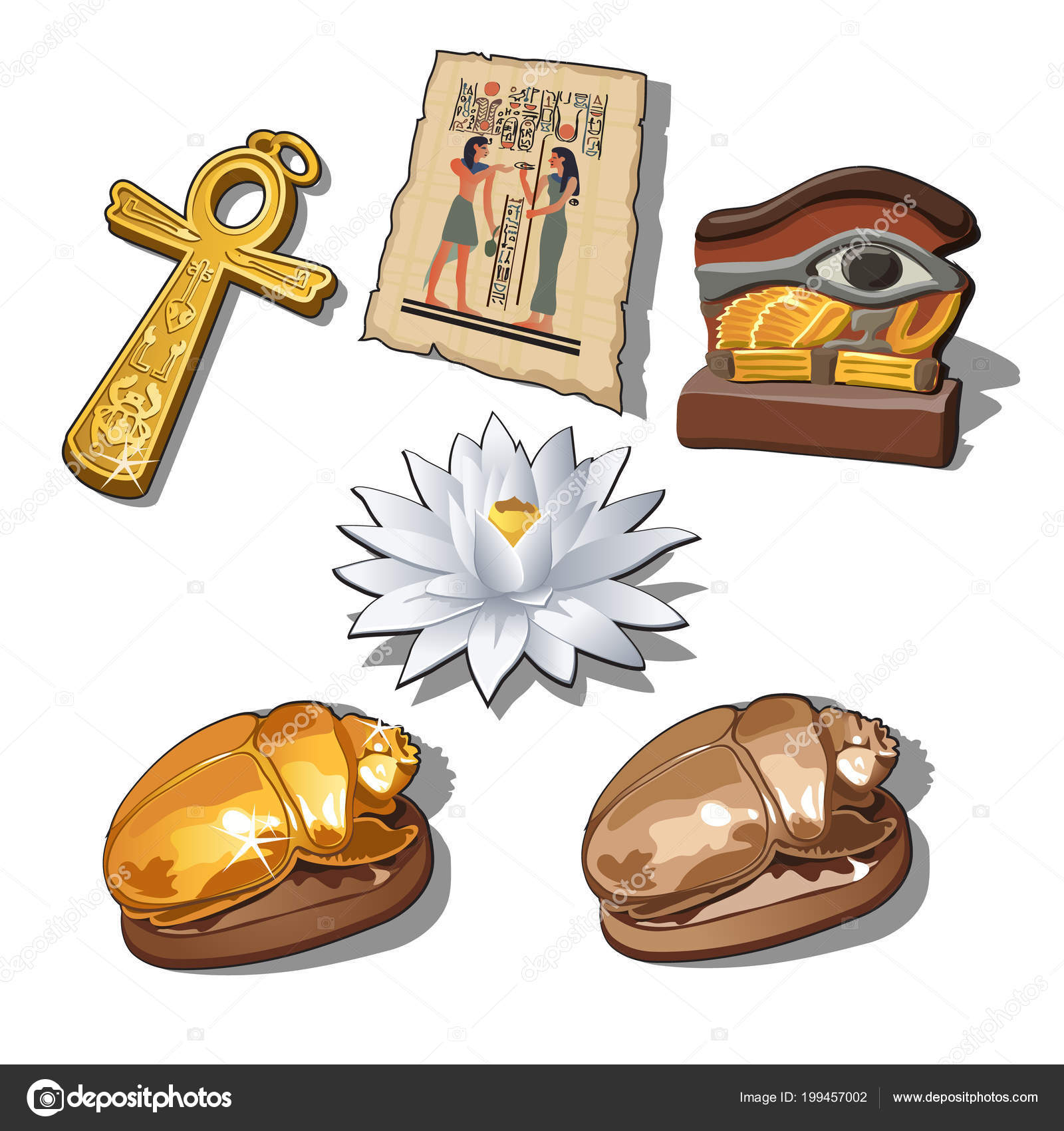 A Set Of Sacred Symbols And Artifacts Of Ancient Egypt Isolated On A