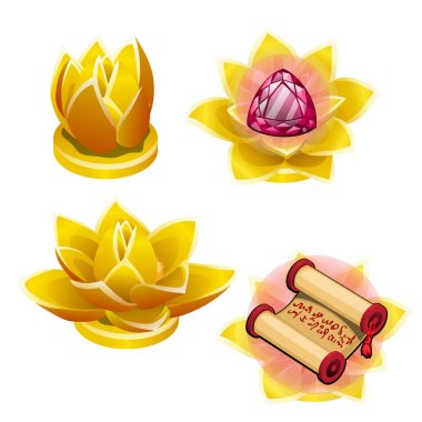 A set of gold statues in the shape of a Lotus flower isolated on white background. Vector cartoon close-up illustration.