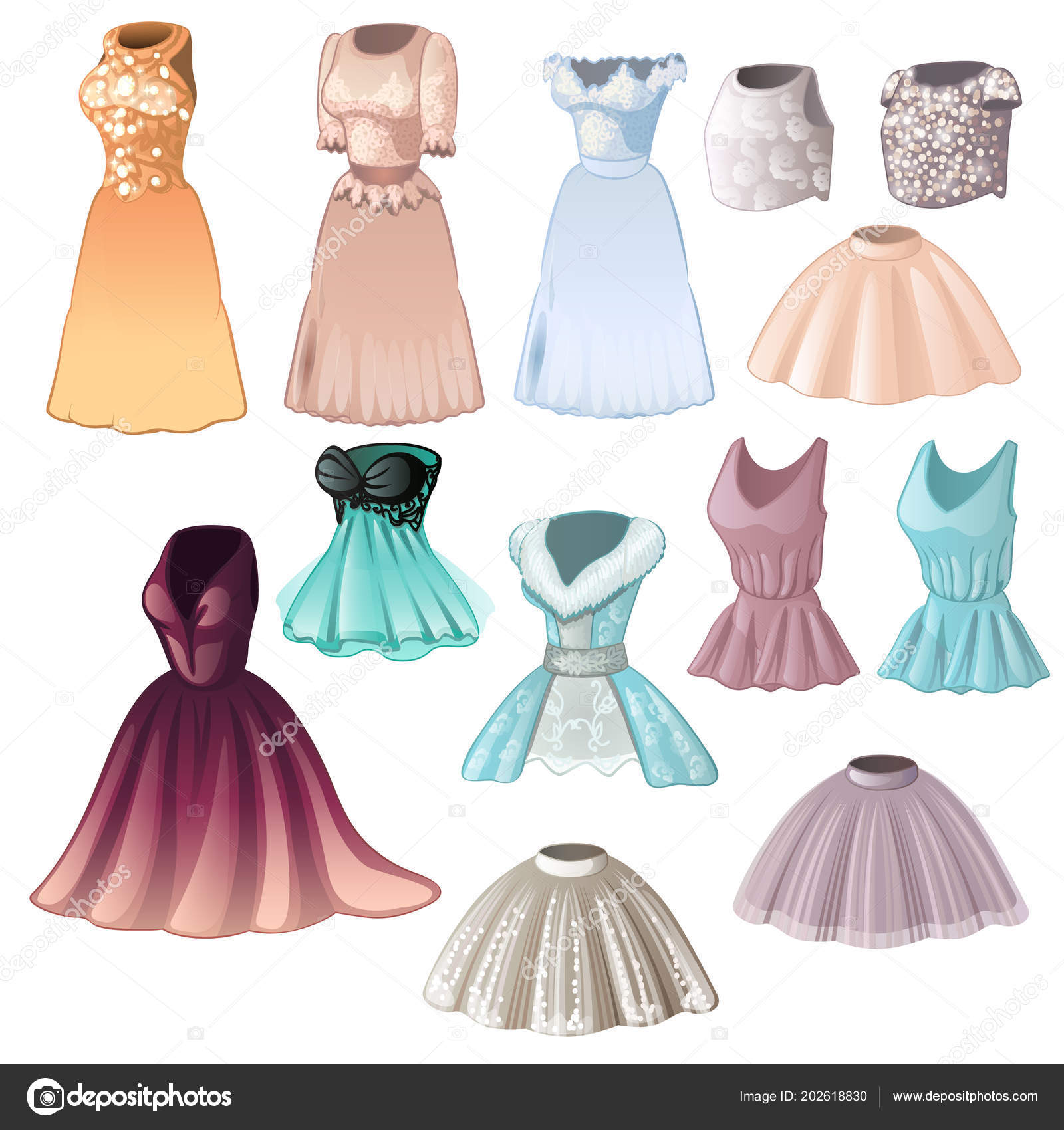 f9a463187 Juego de vestidos para mujer elegantes y faldas aislados sobre fondo ...