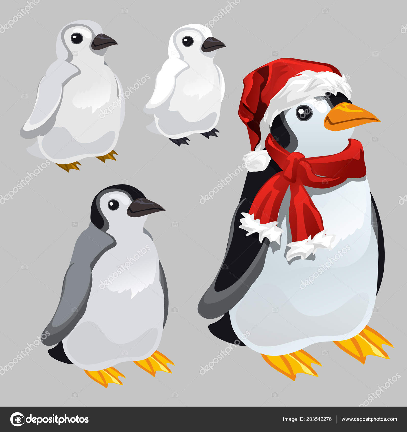 penguin in red scarf and hat in the style of new year and christmas isolated on grey background vector cartoon close up illustration vector by