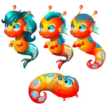 Set fantasy cartoon seahorse isolated on a white background. Stages of transformation from larvae in the sea pony with Golden hooves. Vector illustration.