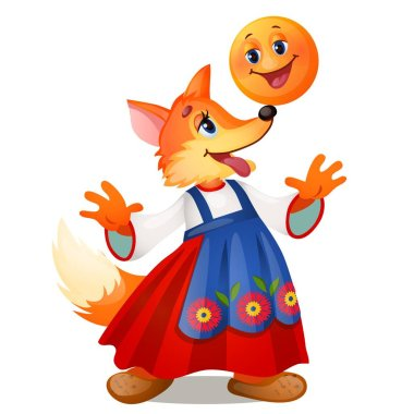 Fox in traditional Russian dress, and a smiling the bun isolated on white background. Characters of Russian fairy tales. Vector cartoon close-up illustration.