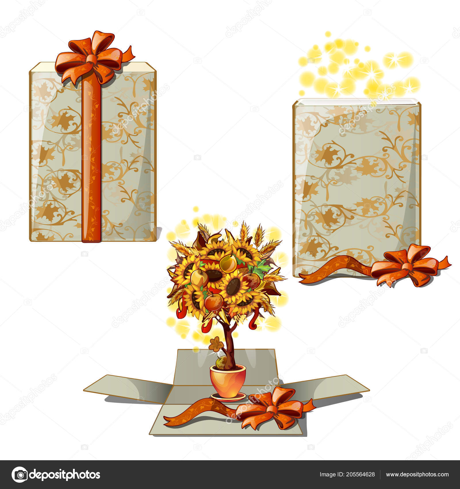 Gift box with a decorative tree A t for thanksgiving day