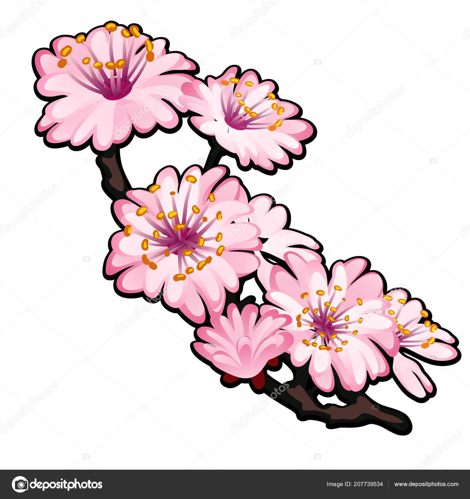 Blossoming branch of a tree pink flowers in spring isolated on white blossoming branch of a tree pink flowers in spring isolated on white background vector cartoon close up illustration vector by antonlunkov mightylinksfo