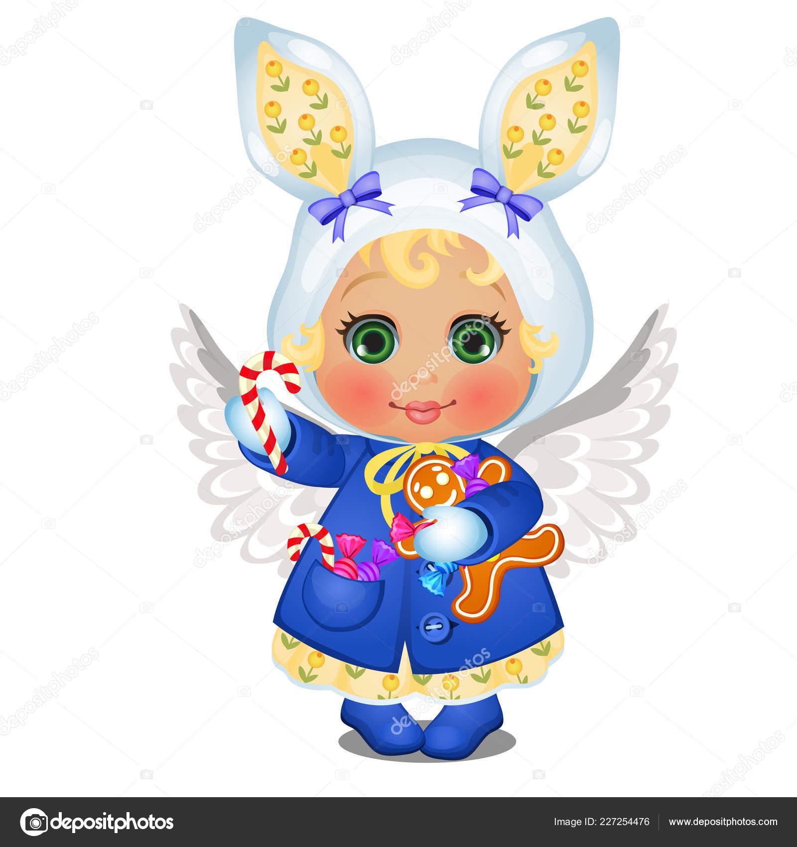 c1f4e992ad13 Κινουμένων σχεδίων χαριτωμένο μικρό κορίτσι σε ρούχα του χειμώνα με ...