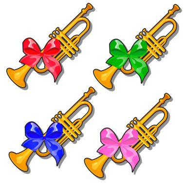 Set of golden pioneer trumpets with colored ribbon bow isolated on white background. Vector cartoon close-up illustration.
