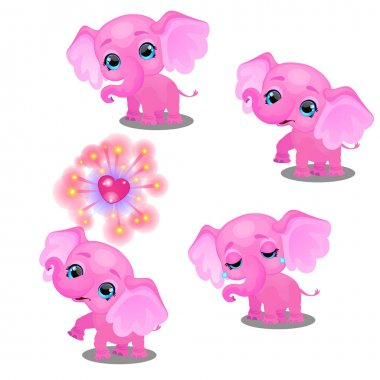 The set of emotions a little animated pink elephant isolated on white background. Sample of poster, party holiday invitation, festive banner, card. Vector cartoon close-up illustration.