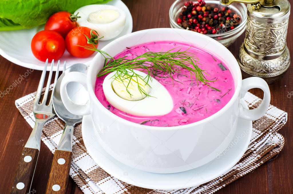 Cold beet soup with egg, fresh herbs, cucumber and herbs