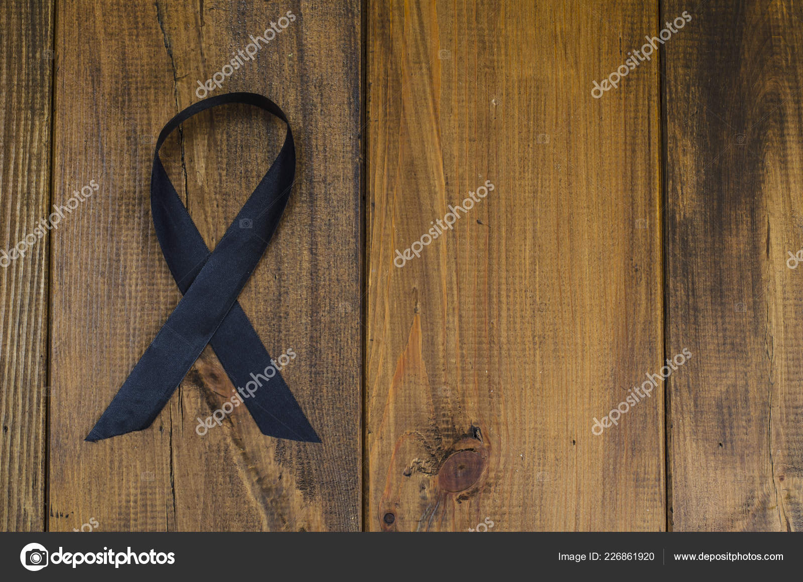 Ruban Noir Est Symbole Lutte Contre Cancer Mélanome Peau ...