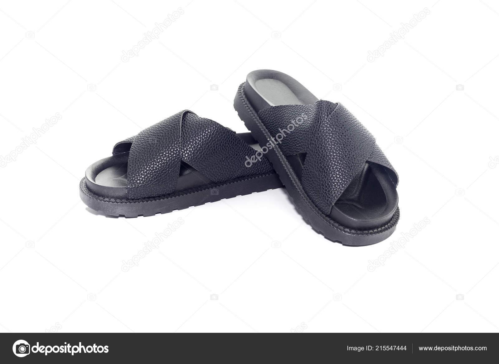 aad8cbf1e6 Sandálias Novas Pretas Confortáveis Femininas Close Couro Sintético Com  Fundo — Fotografia de Stock
