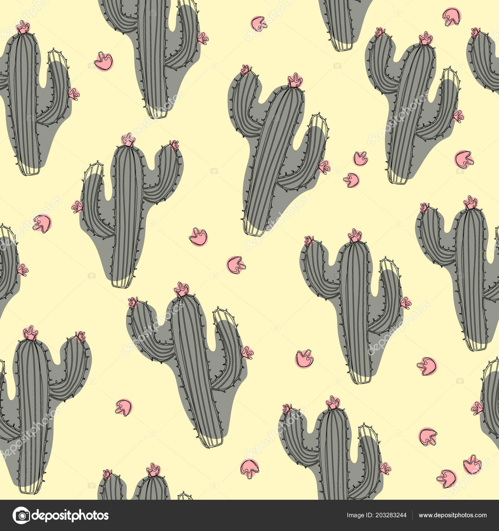 Hand Draw Vector Cactus Seamless Pattern Isolated White Background