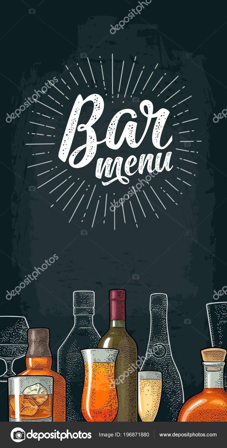 Vertikale Vorlage Für Bar Menü Alkohol Trinken Mit Kalligraphischen ...