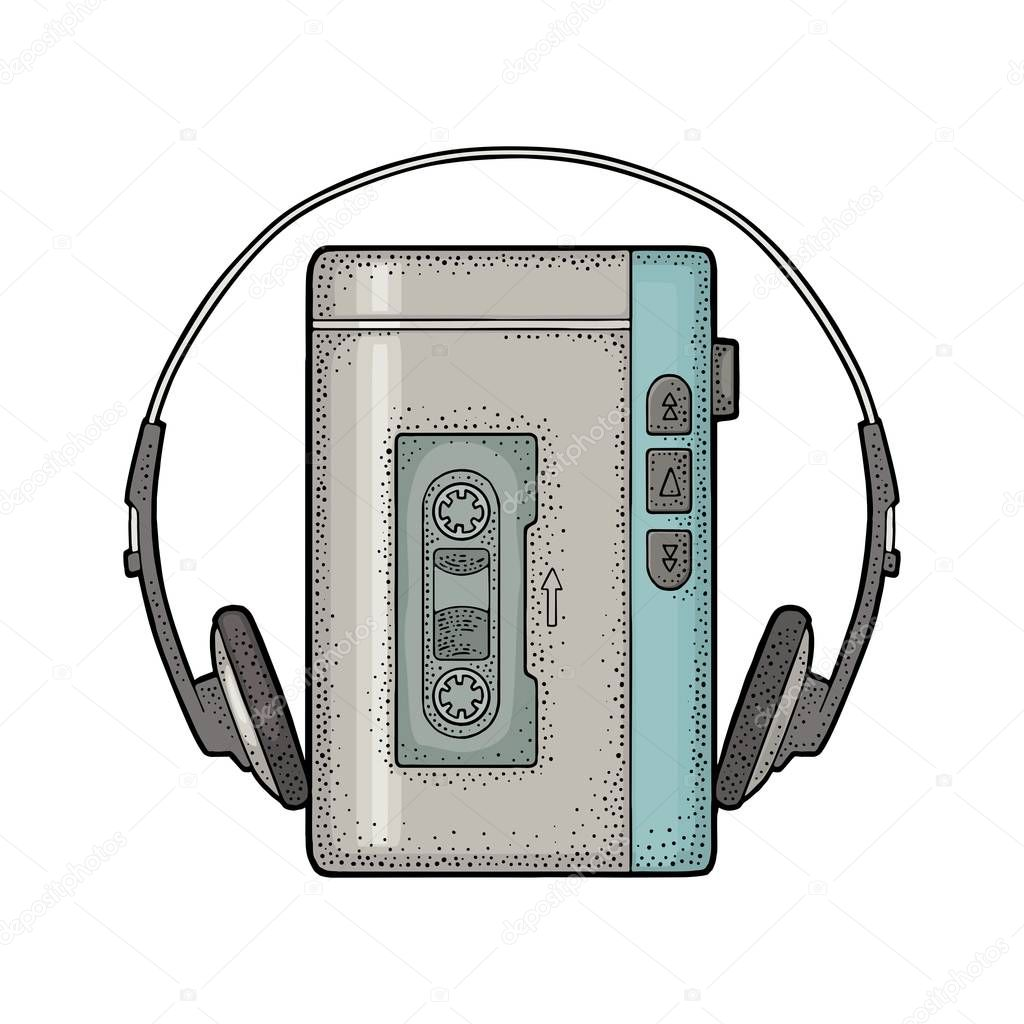Retro portable audio tape recorder with headphones.. Vintage black engraving