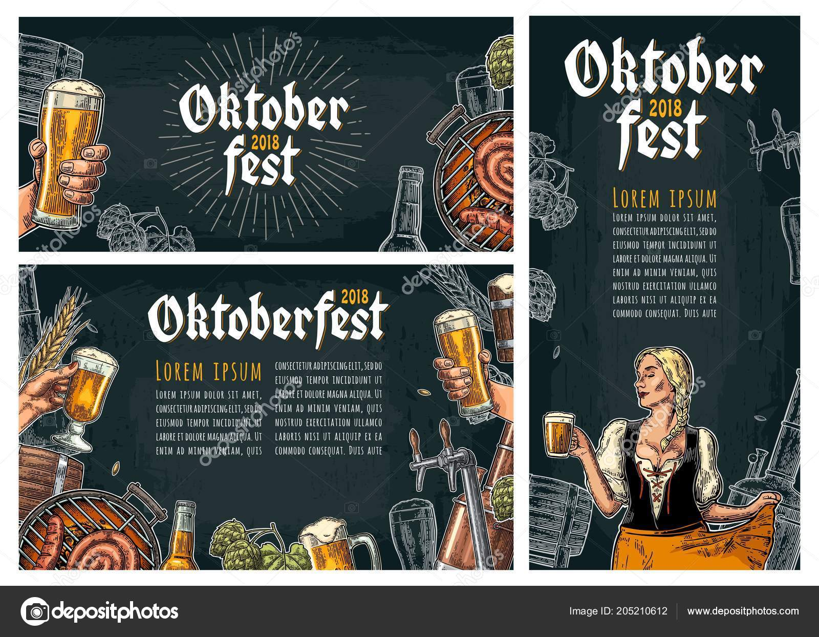 Three poster to oktoberfest festival  Vintage vector