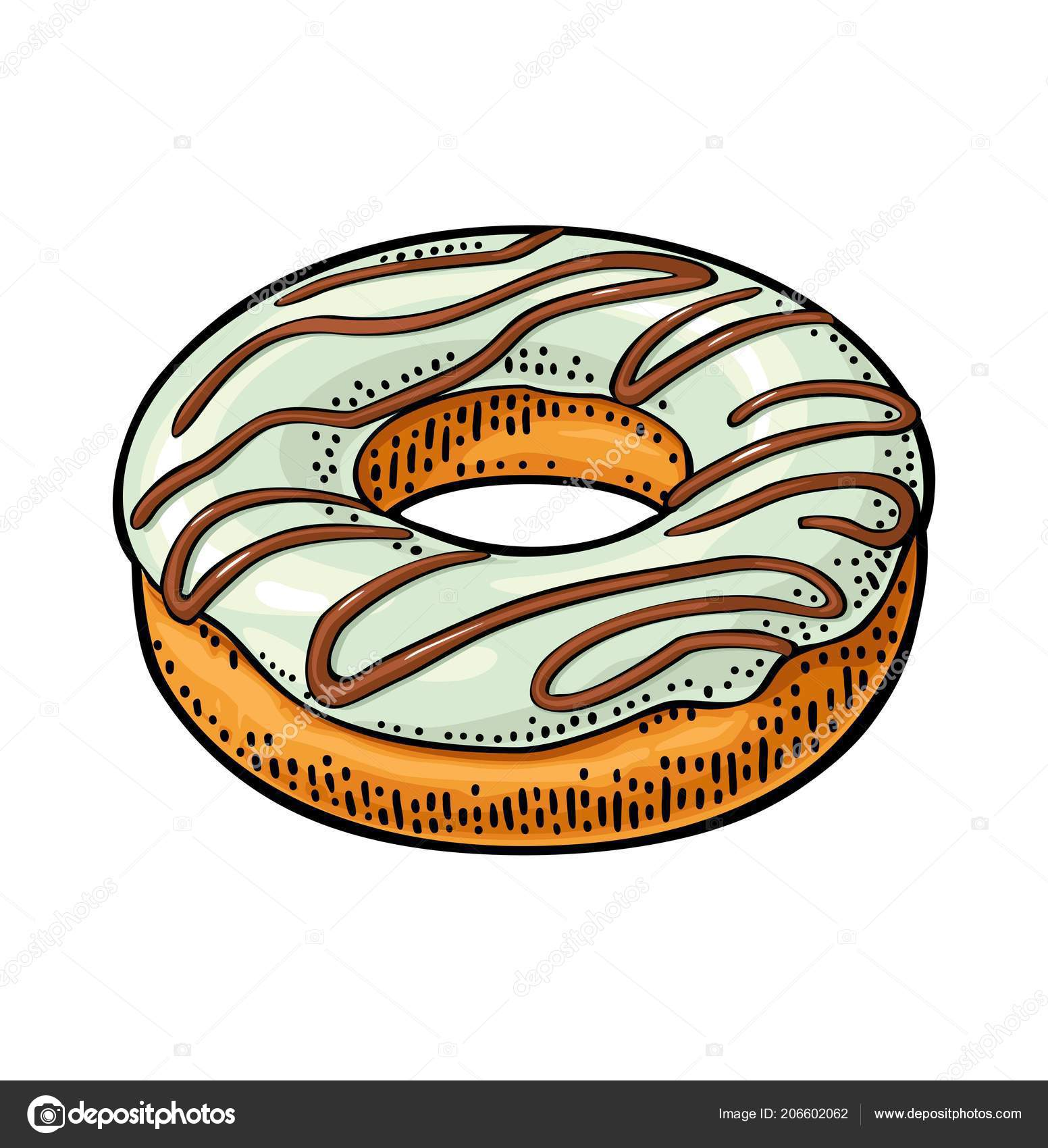 donut white icing chocolate stripes vector color hand drawn vintage