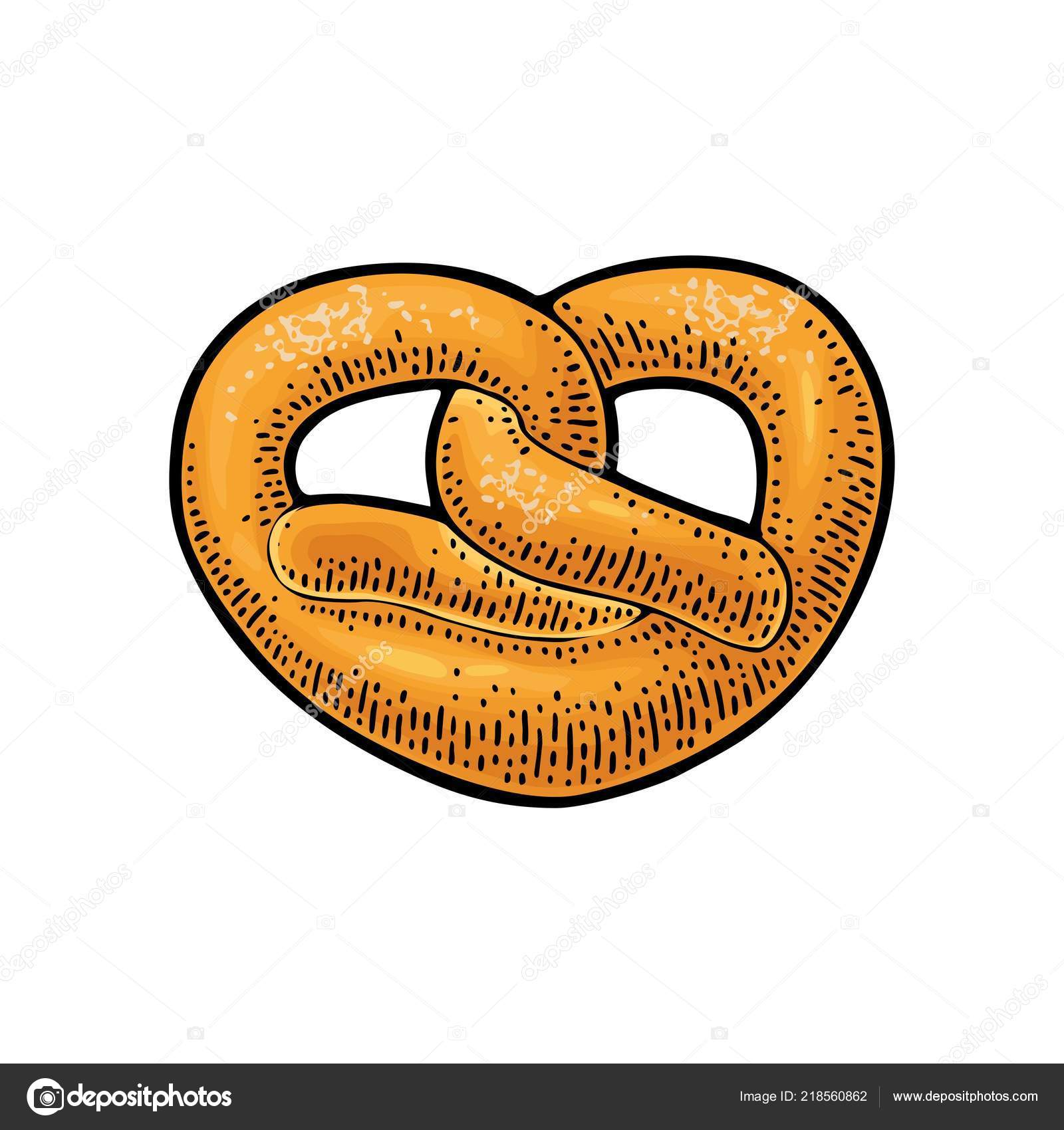 pretzel vector color hand drawn vintage engraving illustration