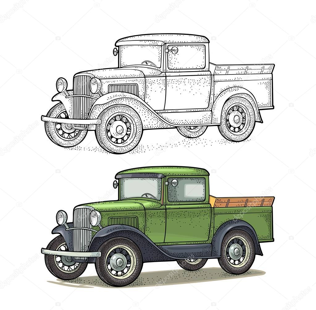 Retro Pickup Truck Side View Vintage Color Engraving Illustration For Poster Web Isolated On White Background Hand Drawn Design Element Premium Vector In Adobe Illustrator Ai Ai Format Encapsulated