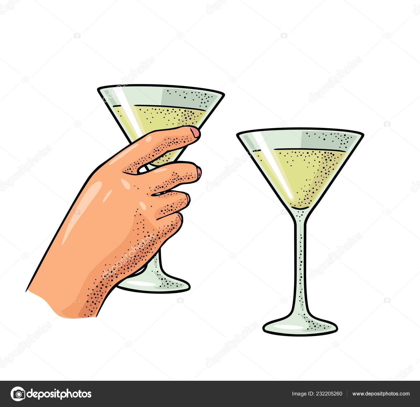Weibliche Hand Hält Ein Glas Cocktail Vintage Vektor Farbe Gravur
