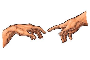 """Картина, постер, плакат, фотообои """"мужской палец указывает на руку бога. сотворение адама . изображение цветы"""", артикул 254874834"""