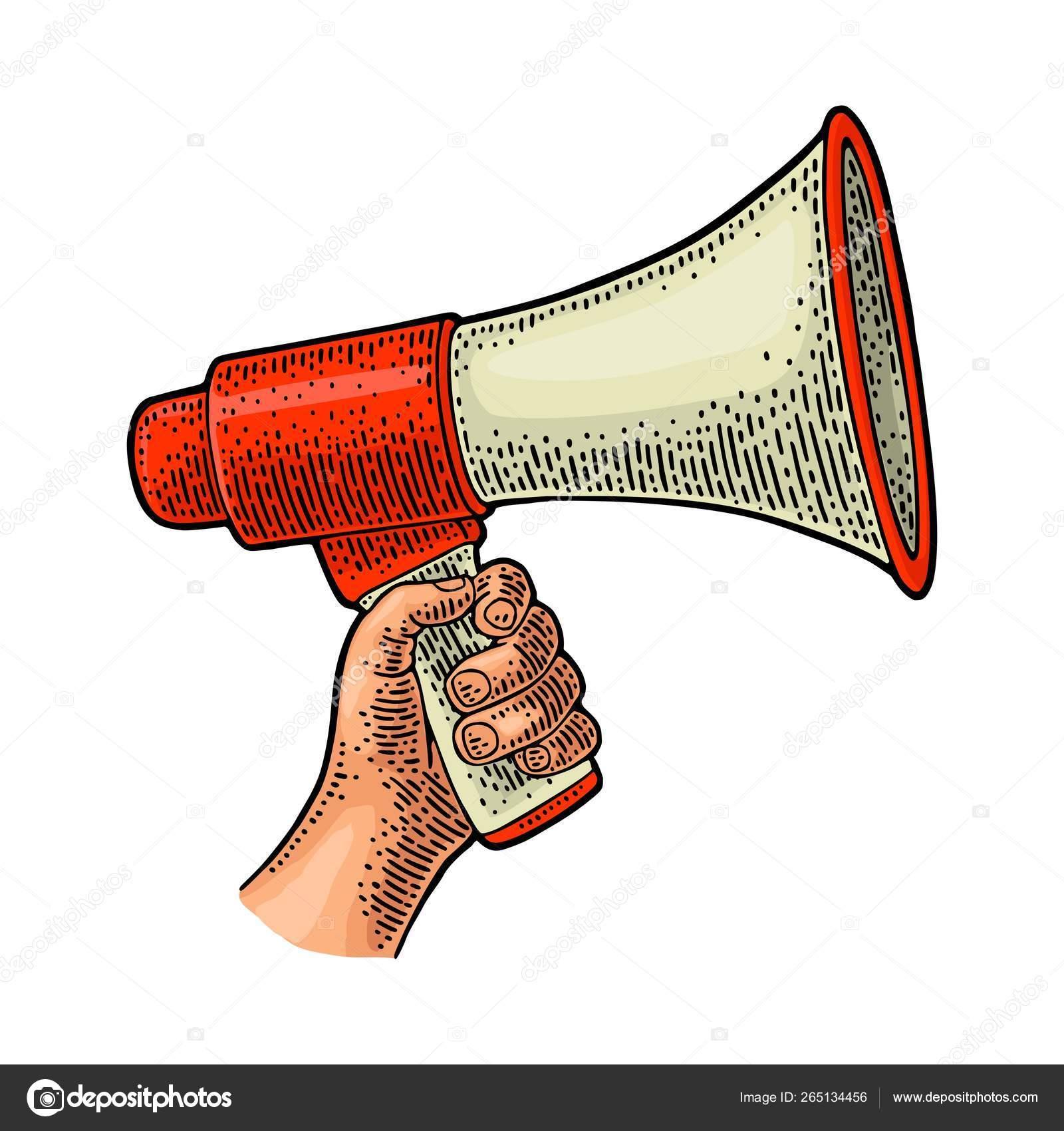 male hand holding loudspeaker vintage vector black engraving stock vector c denispotysiev 265134456 https depositphotos com 265134456 stock illustration male hand holding loudspeaker vintage html