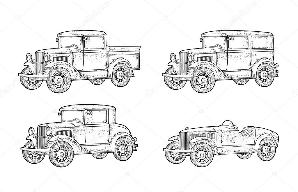 Retro Car Sedan Coupe And Pickup Truck Side View Vintage Color Engraving Illustration For Poster Web Isolated On White Background Hand Drawn Design Element Premium Vector In Adobe Illustrator Ai