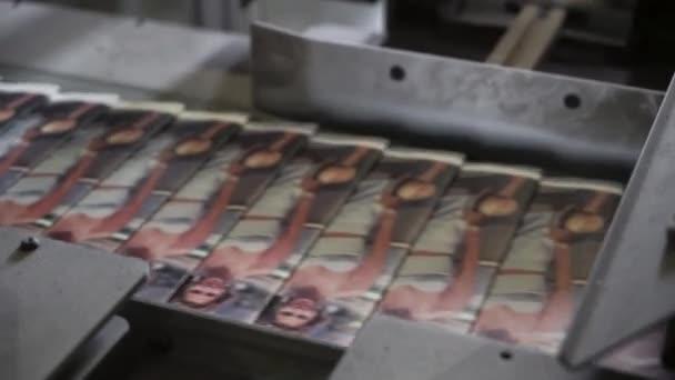 print plant factory, magazine transports on conveyor belt line after printing units and folder
