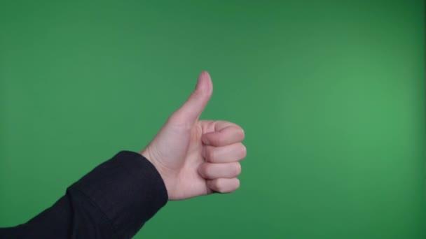 Keze hüvelykujját felfelé zöld képernyő Chroma Key