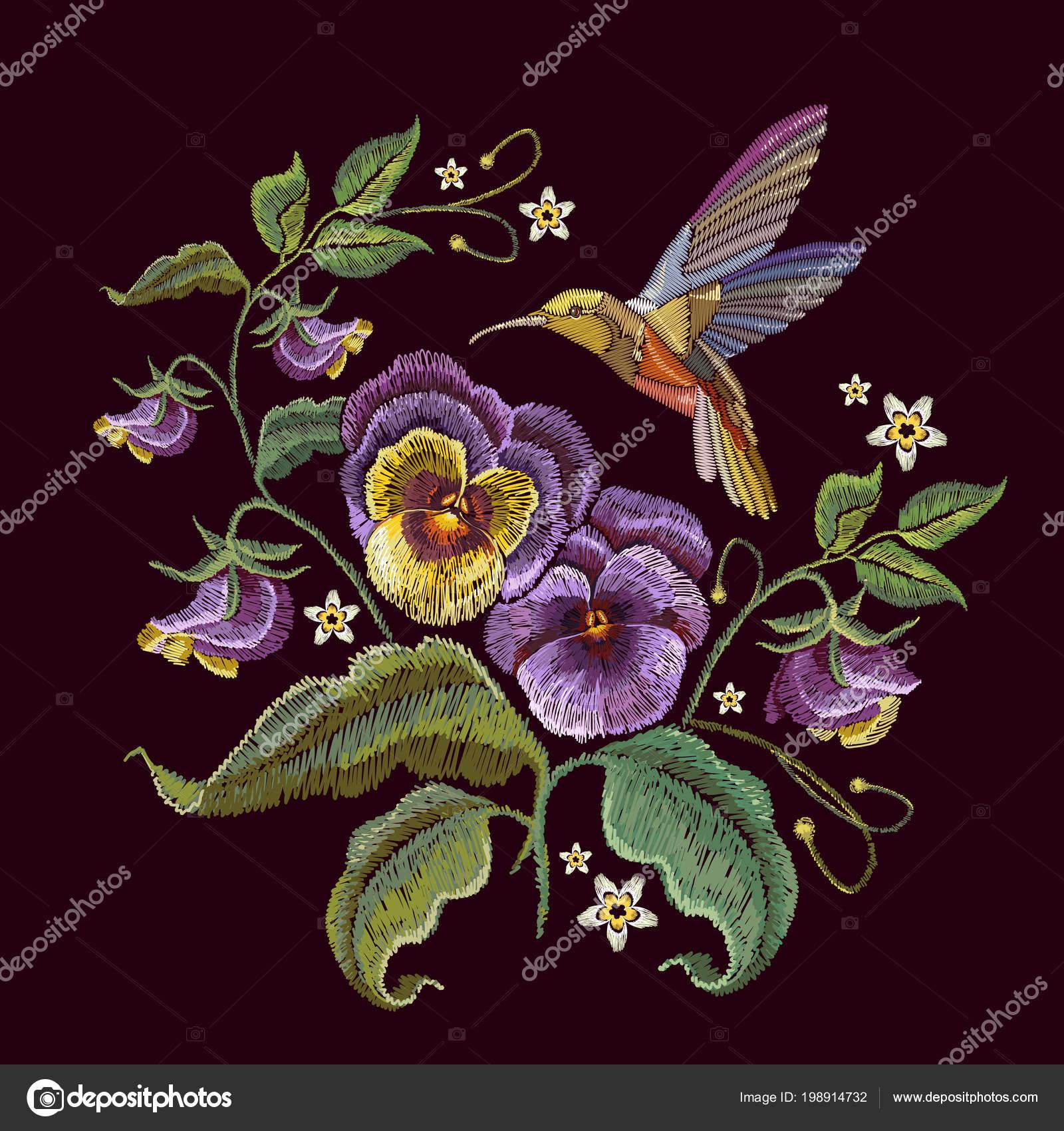 Violets Flower Humming Bird Embroidery Fashionable Design Clothes Shirt Design Stock Vector C Matriyoshka 198914732