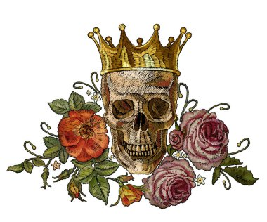 Gothic romanntic embroidery human skulls, crown and red roses and pink peonies, clothes template and t-shirt design.Embroidery golden crown, skull and red roses. Dia de muertos, day of the death art
