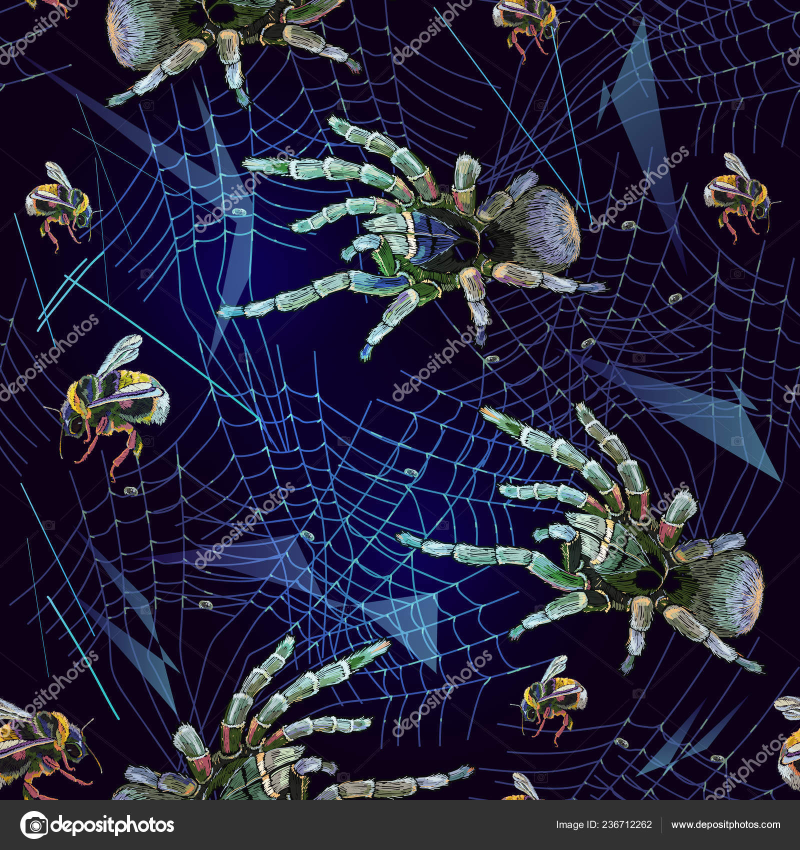 Embroidery Spider Web Seamless Pattern Halloween Background Horror