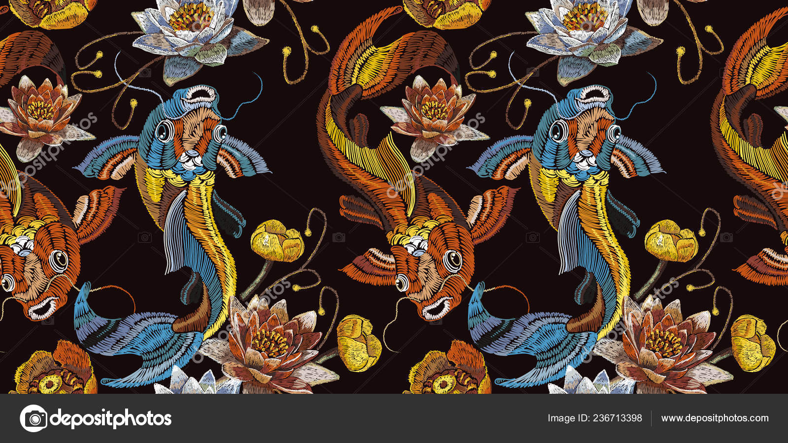 Embroidery vintage koi fish and water lily seamless pattern japanese art classical embroidery koi carp pink and white lotuses and water lilies