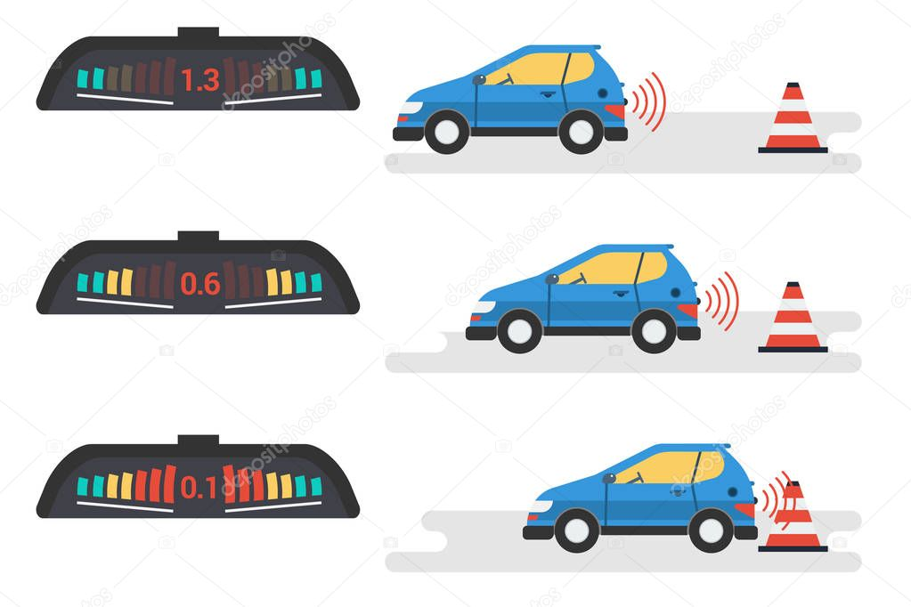 Car parktronic infographic - three positions