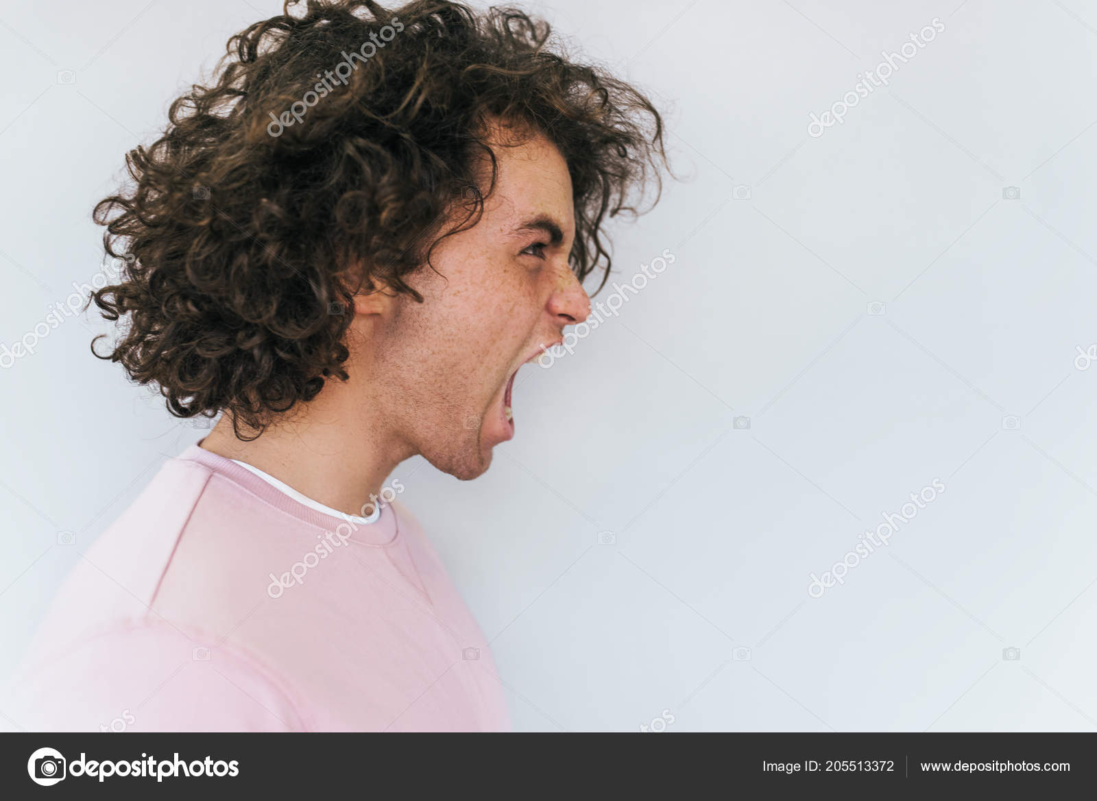 Side View Handsome Crazy Male Curly Hair Opens Mouth Widely Stock Photo Image By C Iuricazac 205513372