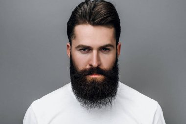 Horizontal close up portrait of handsome brutal masculine young bearded male looking at the camera, posing on a gray studio background. Portrait of young European fashion barber with trendy beard.