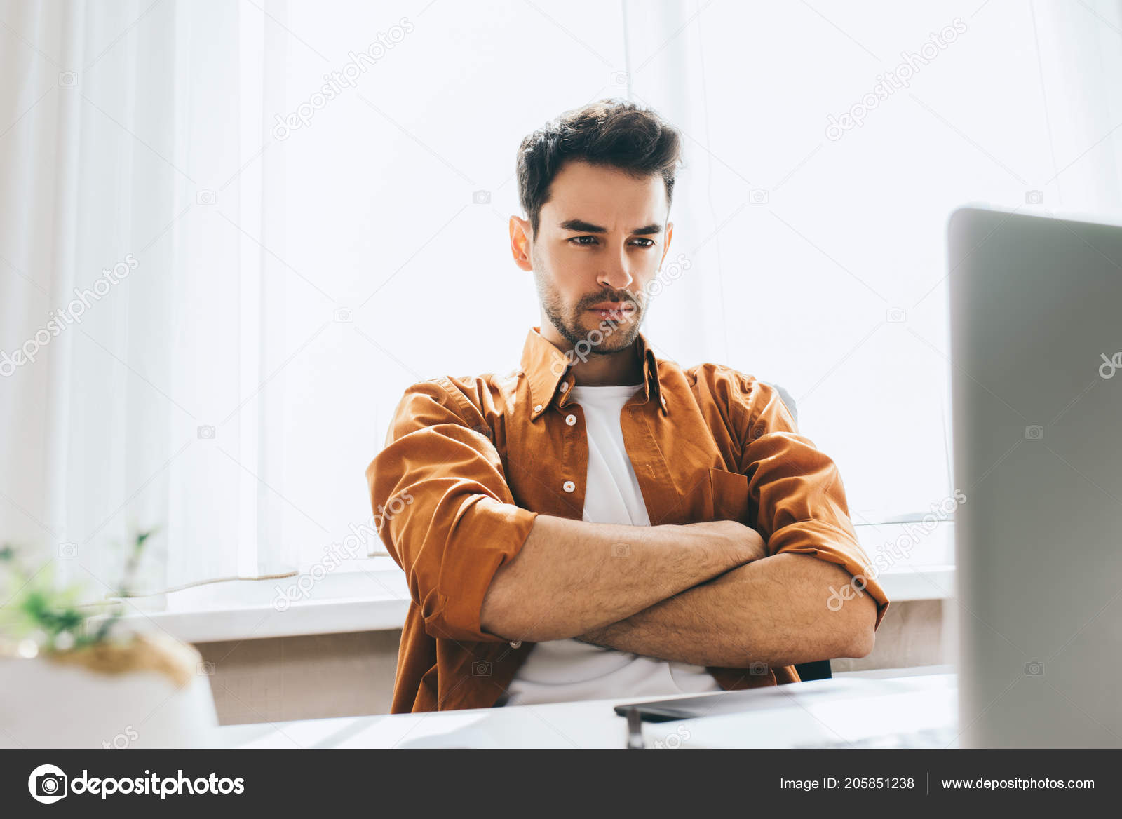 Serious Handsome Male Freelancer Sitting Front Computer