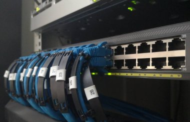 Network switch and ethernet cable connect to computer