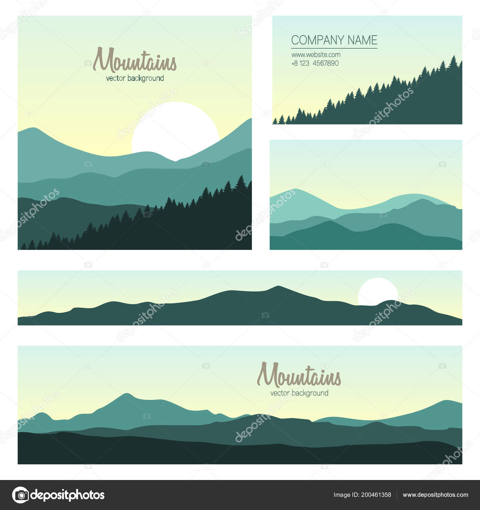 Set Green Mountains Forest Backgrounds Vector Templates Design Business Cards Stock
