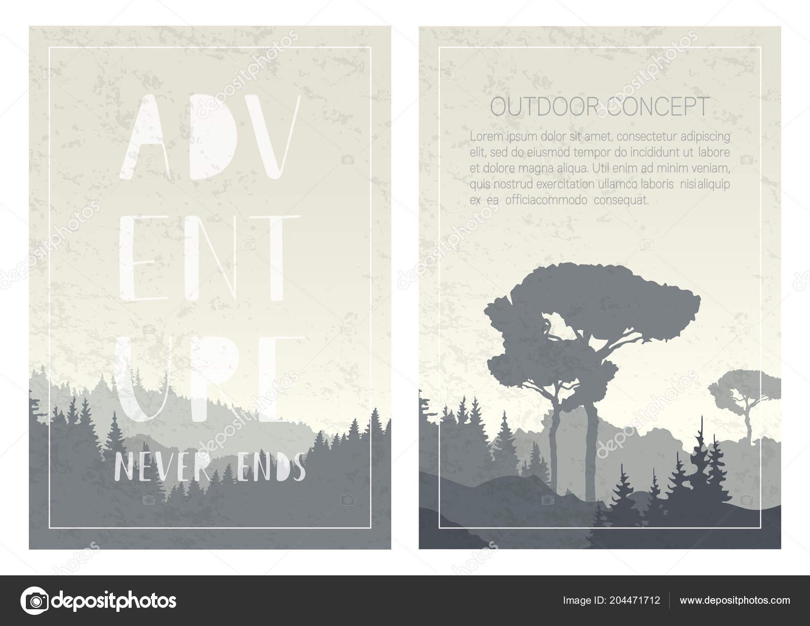Conjunto Fundos Natureza Paisagem Com Montanhas árvores