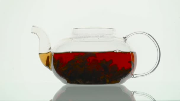 Brewing black tea in a glass teapot on white background