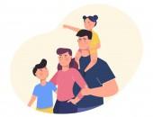 Boldog családi portré. Családtagok állandó együtt. Anya, apa és a gyerekek. Vektoros illusztráció egy rajzfilm-stílusú