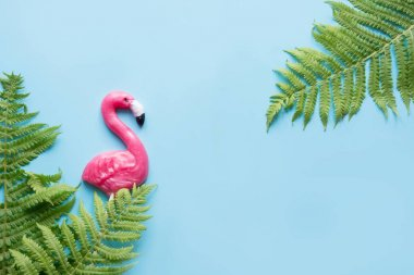 One pink flamingo candy lollipop on blue. Top view. Fun tropical