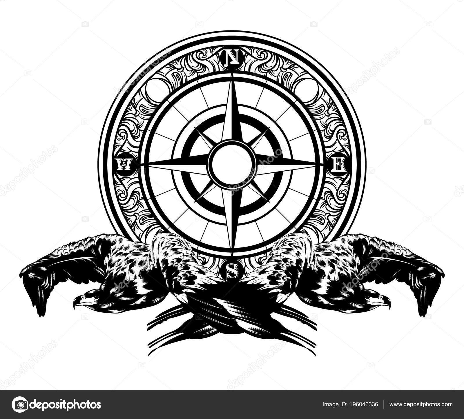 Rucne Kreslenou Vektorove Ilustrace Orel Kompas Samostatny