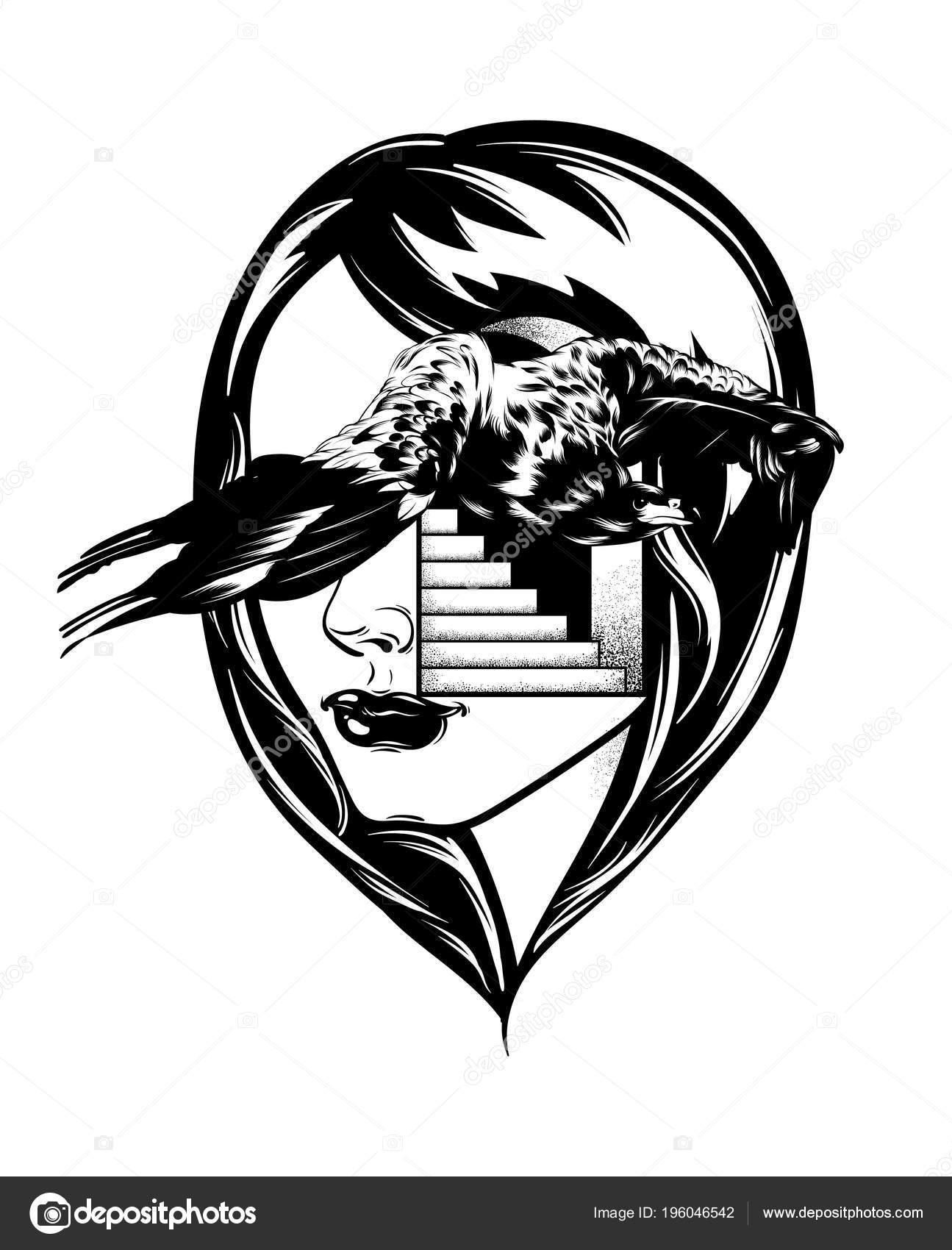 Rucne Kreslenou Vektorove Ilustrace Orel Divka Samostatny