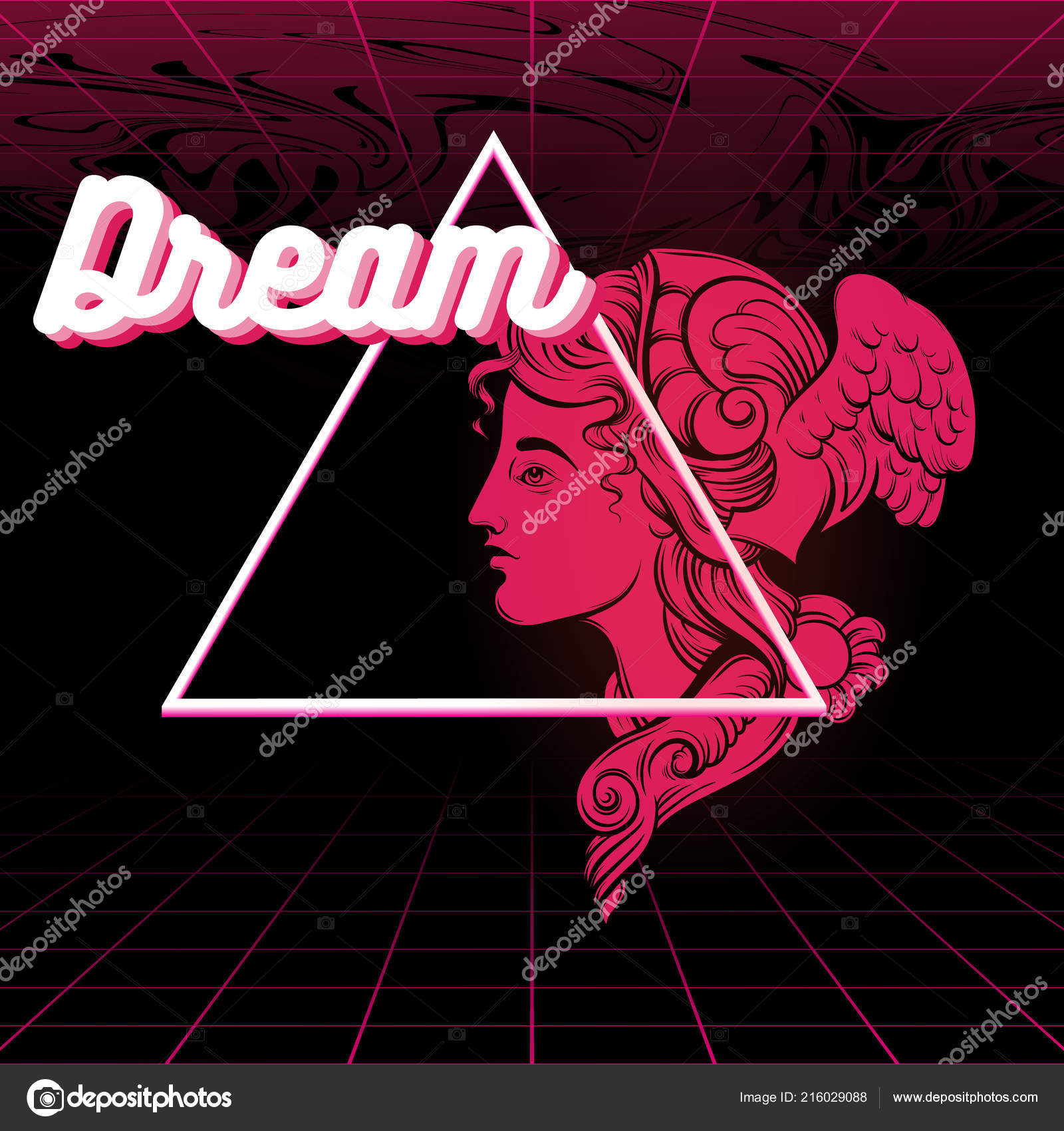 dream vector poster hand drawn illustration hermes vaporwave style