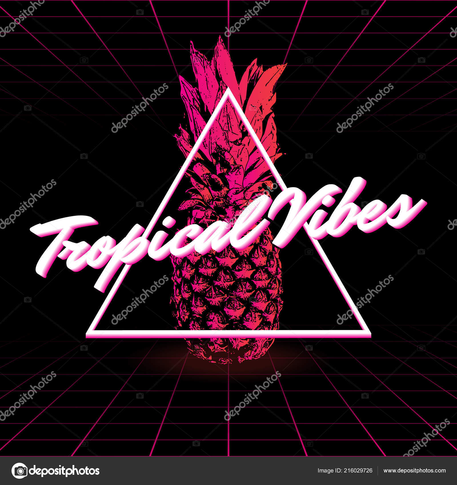 tropical vibes vector poster hand drawn illustration ananas made