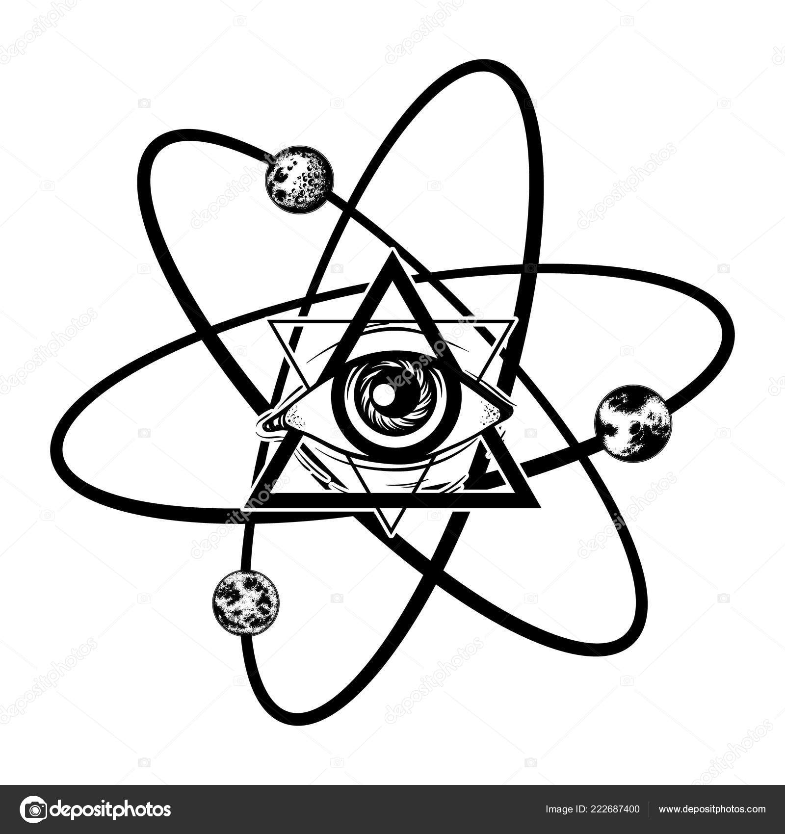 vector hand drawn illustration all seeing eye planets template card
