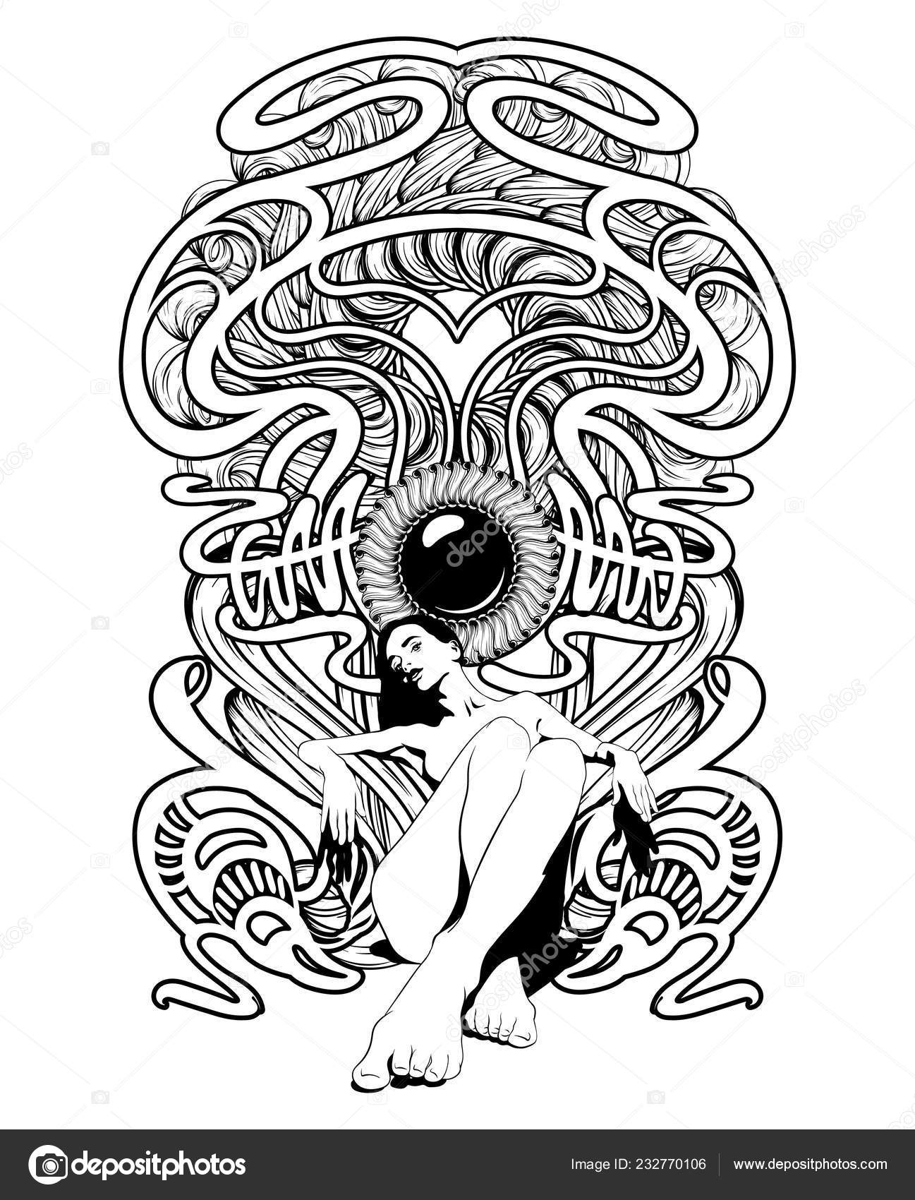 a804cc99701c Vector Hand Drawn Illustration Skinny Elegant Girl Frame Creative Tattoo —  Stock Vector