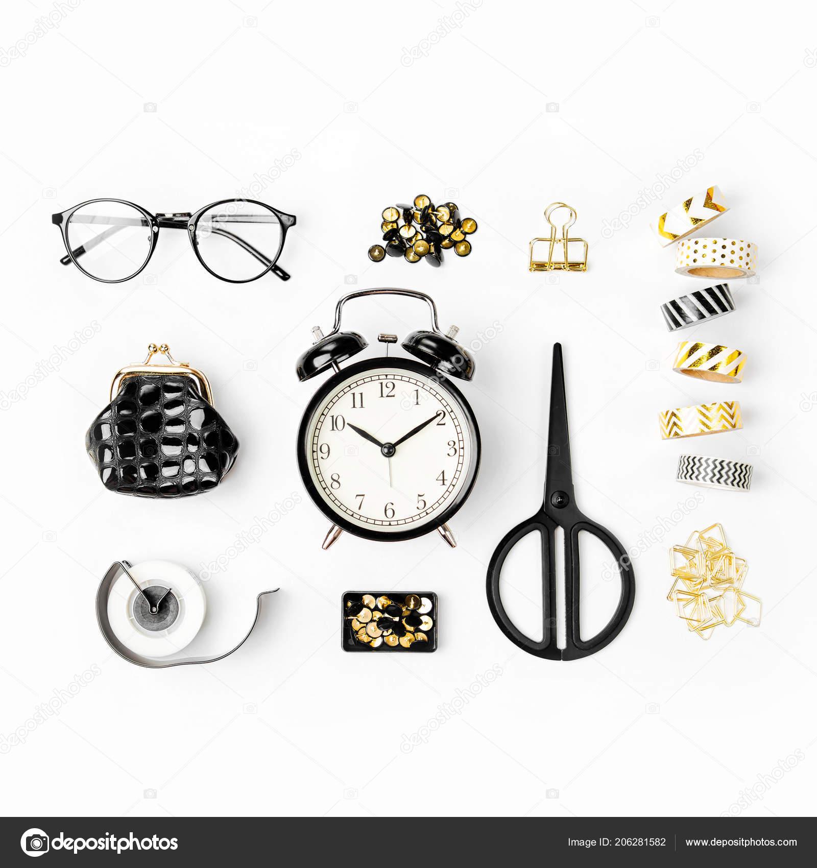 Flat Lay Stylish Set Alarm Clock Washi Tape Paper Clips — Stock